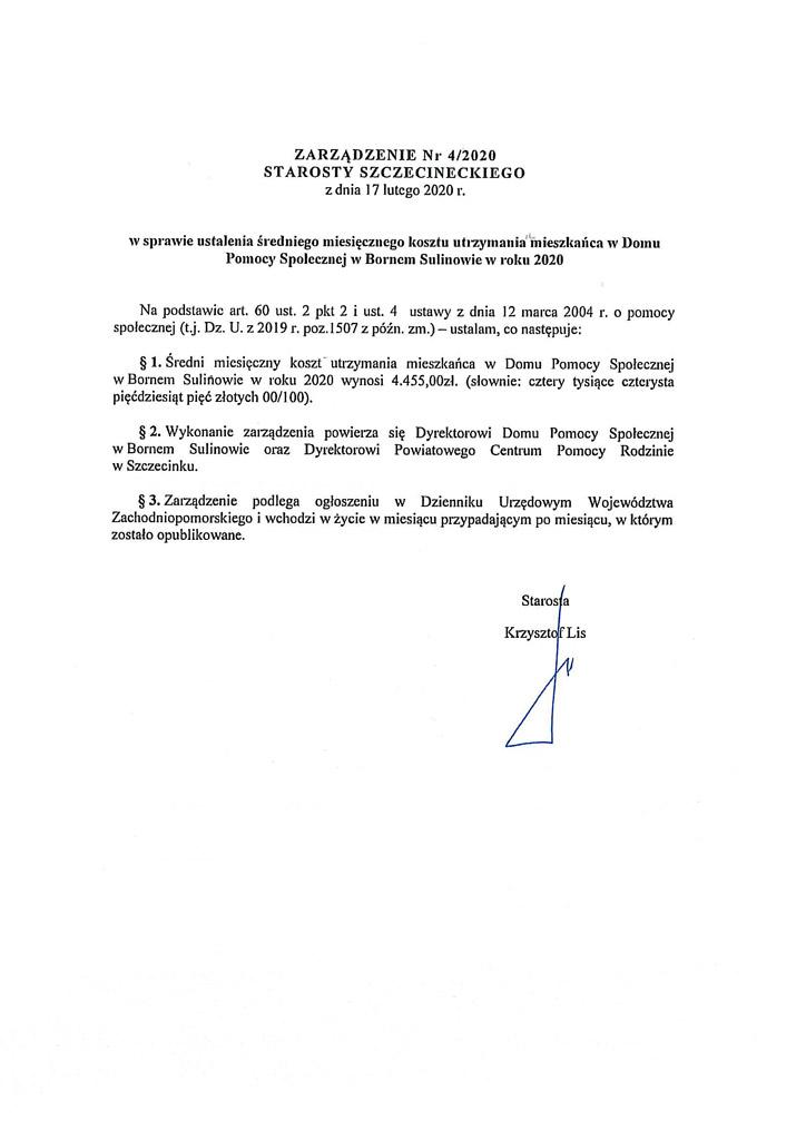 Zarządzenie nr 4/2040 Starosty Szczecineckiego